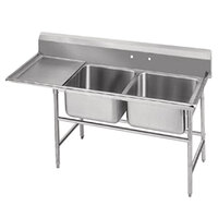 Advance Tabco 94-82-40-36 Spec Line Two Compartment Pot Sink with One Drainboard - 84 inch