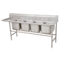 Advance Tabco 94-84-80-24 Spec Line Four Compartment Pot Sink with One Drainboard - 117 inch