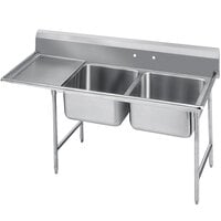 Advance Tabco 9-62-36-18 Super Saver Two Compartment Pot Sink with One Drainboard - 62 inch