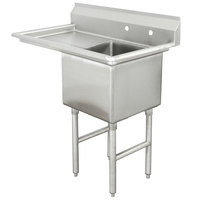 Advance Tabco FC-1-1818-18 One Compartment Stainless Steel Commercial Sink with One Drainboard - 38 1/2 inch