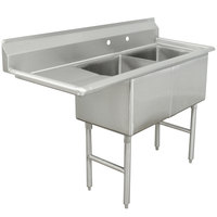 Advance Tabco FC-2-1818-18 Two Compartment Stainless Steel Commercial Sink with One Drainboard - 56 1/2 inch