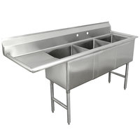 Advance Tabco FC-3-1818-18 Three Compartment Stainless Steel Commercial Sink with One Drainboard - 75 inch