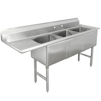 Advance Tabco FC-3-1824-18 Three Compartment Stainless Steel Commercial Sink with One Drainboard - 74 1/2 inch