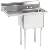 Advance Tabco FE-1-1812-18 One Compartment Stainless Steel Commercial Sink with One Drainboard - 38 1/2 inch