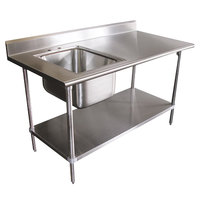 16 Gauge Advance Tabco KMS-11B-306 Stainless Steel Work Table with Sink 30 inch x 72 inch