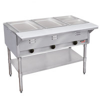 APW Wyott GST-3 Champion Open Well Three Pan Gas Steam Table - Galvanized Undershelf and Legs