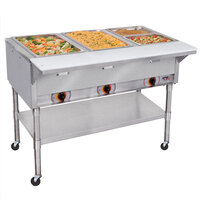 APW Wyott PST-3S Three Pan Exposed Portable Steam Table with Stainless Steel Legs and Undershelf - 1500W - Open Well