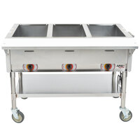 APW Wyott PST-4 Four Pan Exposed Portable Steam Table with Coated Legs and Undershelf - 2000W - Open Well