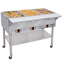 APW Wyott PST-4S Four Pan Exposed Portable Steam Table with Stainless Steel Legs and Undershelf - 2000W - Open Well