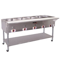 APW Wyott PST-5S Five Pan Exposed Portable Steam Table with Stainless Steel Legs and Undershelf - 2500W - Open Well