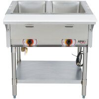 APW Wyott ST-2S Two Pan Exposed Stationary Steam Table with Stainless Steel Legs and Undershelf - 1000W - Open Well