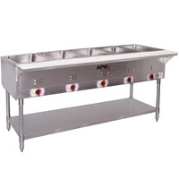APW Wyott ST-5S Five Pan Exposed Stationary Steam Table with Stainless Steel Legs and Undershelf - 2500W - Open Well