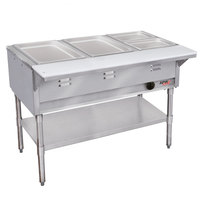 APW Wyott WGST-3S Champion Sealed Well Three Pan Gas Steam Table - Stainless Steel Undershelf and Legs