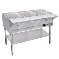 APW Wyott WGST-4S Champion Sealed Well Four Pan Gas Steam Table - Stainless Steel Undershelf and Legs