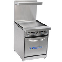 Bakers Pride Restaurant Series 24-BP-0B-G24-S20 Gas Range with Space Saver 20 inch Oven and 24 inch Griddle