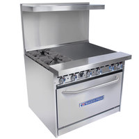 Bakers Pride Restaurant Series 36-BP-2B-G24-S30 2 Burner Gas Range with Standard 30 inch Oven and 24 inch Griddle