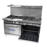 Bakers Pride Restaurant Series 72-BP-10B-G12-S30 10 Burner Gas Range with Two Standard 30 inch Ovens and 12 inch Griddle