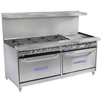 Bakers Pride Restaurant Series 72-BP-8B-G24-S30 8 Burner Gas Range with Two Standard 30 inch Ovens and 24 inch Griddle
