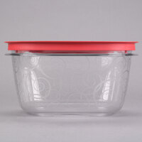Rubbermaid 7H79 14 Cup Clear Square Premier Storage Container with Chili Red Lid (FG7H79TRCHILI)