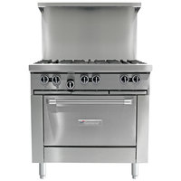 Garland G36-G36S Gas Range with 36 inch Griddle and Storage Base - 54,000 BTU
