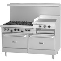 Garland G60-6R24GS 6 Burner 60 inch Gas Range with 24 inch Raised Griddle / Broiler, Standard Oven, and Storage Base - 269,000 BTU