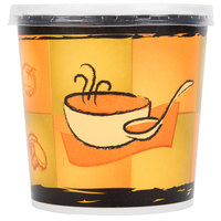 Huhtamaki Chinet 71848 16 oz. Double-Wall Poly Paper Soup / Hot Food Cup with Plastic Lid and Streetside Design - 250 / Case