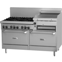 Garland GFE60-6R24RS 6 Burner 60 inch Gas Range with Flame Failure Protection and Electric Spark Ignition, 24 inch Raised Griddle / Broiler, Standard Oven, and Storage Base - 227,000 BTU