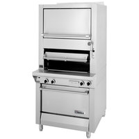 Garland M100XRM Master Series Heavy-Duty Upright Infrared Broiler with Standard and Finishing Ovens - 110,000 BTU