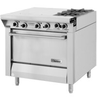 Garland M43-1S Master Series 4 Burner 34 inch Gas Range with Even Heat Hot Top and Storage Base - 118,000 BTU