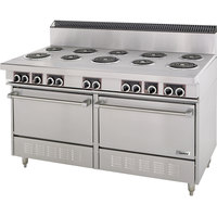 Garland S684 Sentry Series 10 Open Burner Commercial Electric Restaurant Range with 2 Standard Ovens - 27 kW