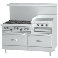 U.S. Range U60-6R24RR 6 Burner 60 inch Gas Range with 24 inch Raised Griddle / Broiler and 2 Standard Ovens - 301,000 BTU