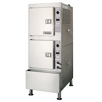 Cleveland 24CGA10.2ES Gemini 10 SST High Efficiency 10 Pan Gas Convection Floor Steamer - 100,000 BTU
