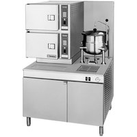 Cleveland 42-CKGM-200 Classic Series 6 Pan Gas Floor Convection Steamer with Boiler Base and 6 Gallon Steam Jacketed Kettle - 200,000 BTU