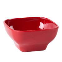 5 1/2 inch x 5 1/2 inch Passion Red Square 20 oz. Melamine Bowl with Round Edges - 12/Pack