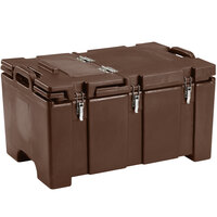 Cambro 100MPCHL131 Camcarrier Dark Brown Top loading Pan Carrier with Hinged Lid for 12 inch x 20 inch Food Pans