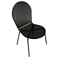 American Tables and Seating 94 Black Outdoor Chair with Rounded Seat and Seat Back