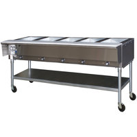 Eagle Group SPDHT5 Portable Hot Food Table Five Pan - All Stainless Steel - Open Well