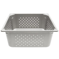 Vollrath 30163 Super Pan V 2/3 Size Anti-Jam Stainless Steel Perforated Steam Table / Hotel Pan - 6 inch Deep