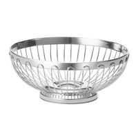 Tablecraft 6170 Round Stainless Steel Regent Basket - 8 inch x 3 1/4 inch