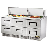 True TFP-72-30M-D-6 72 inch Mega Top Six Drawer Salad / Sandwich Prep Refrigerator