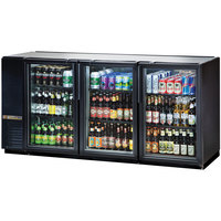 True TBB-24GAL-72G-LD 72 inch Black Narrow Glass Door Back Bar Refrigerator with Galvanized Top and LED Lighting