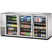 True TBB-24GAL-72G-S-LD 72 inch Stainless Steel Narrow Glass Door Back Bar Refrigerator with Galvanized Top and LED Lighting