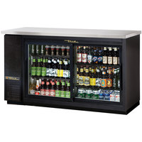 True TBB-24-60G-SD-LD 61 inch Black Narrow Sliding Glass Door Back Bar Refrigerator with LED Lighting