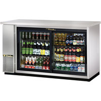 True TBB-24-60G-SD-S-LD 61 inch Stainless Steel Sliding Glass Door Back Bar Refrigerator with LED Lighting - 24 inch Deep