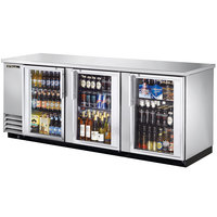 True TBB-4G-S-LD 90 inch Stainless Steel Glass Door Back Bar Refrigerator with LED Lighting