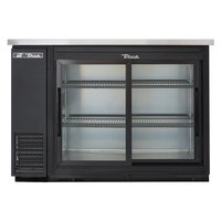 "True TBB-24-48G-SD-LD 49"" Black Narrow Sliding Glass Door Back Bar Refrigerator with LED Lighting"