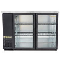 "True TBB-24-48G-LD 49"" Black Narrow Glass Door Back Bar Refrigerator with LED Lighting"