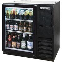 Beverage Air BB36G-1-B-WINE-LED 36 inch Glass Door Back Bar Wine Refrigerator - Black with LED Lighting