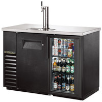 True TDB-24-48-1-G-1-LD 49 inch Back Bar Refrigerator with One Solid Door, One Glass Door, and LED Lighting