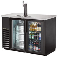 True TDB-24-48G-LD 49 inch Back Bar Direct Draw Kegerator Beer Dispenser with Two Glass Doors and LED Lighting